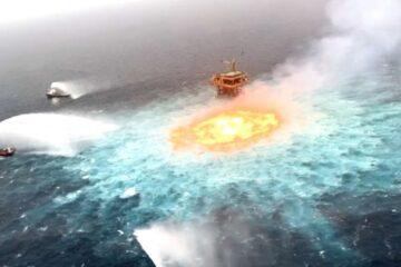 Tormenta eléctrica y fuga de gas, causas de aparatoso incendio en el mar: Pemex